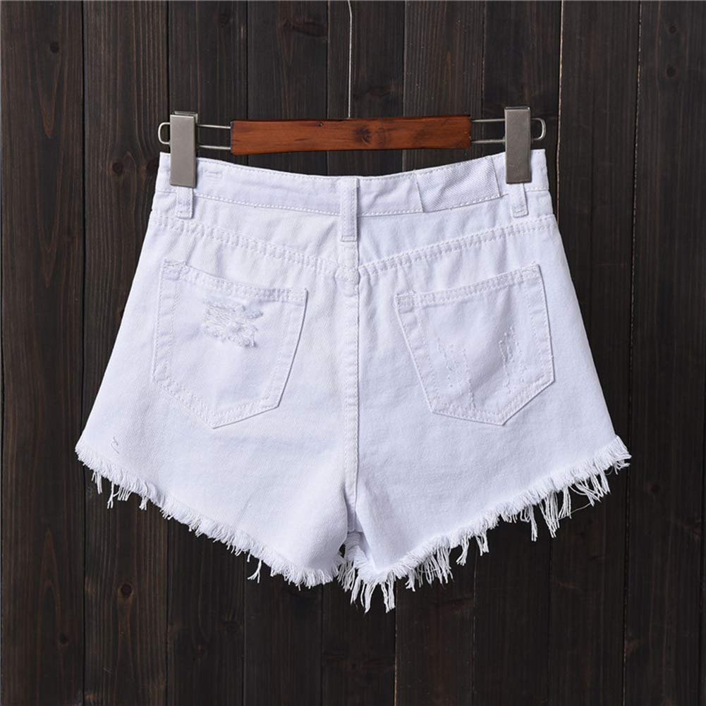 LaoZanA Donna Jeans Shorts Pantaloncini Corti Denim Strappati Vita Alta
