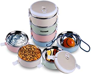 Spill Proof Dog Cat Travel Bowl Portable 304 Stainless Steel Multiple Layers Pet Water Food Storage Container with Invisible Handle for Pet Outdoor Traveling Raised Feeding (4 Layer)
