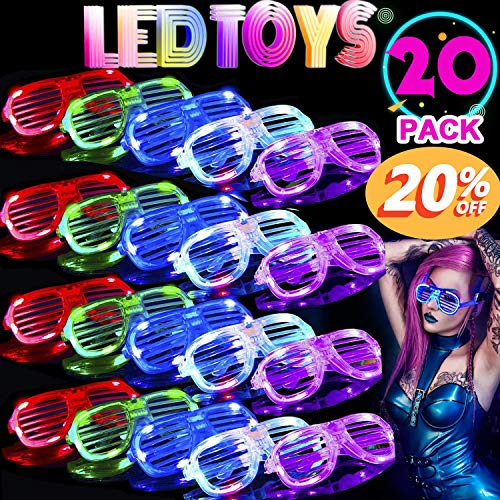 TURNMEON 20 Pack LED Glasses,5 Color Light Up Plastic Shutter Shades Glasses Led Sunglasses for Adults Kids Glow in The Dark Halloween Rave Party Favors Supplies Birthday Back to School Glow Toys -