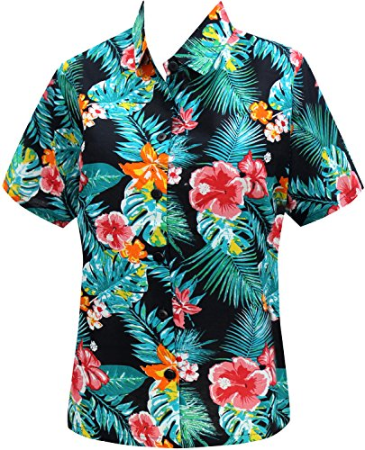La Leela Cotton bohemian tops memorial day fathers day Prime deals Lightning deals Women's Hawaiian Shirt XXL C_Green Fathers Day Gifts Spring Summer …