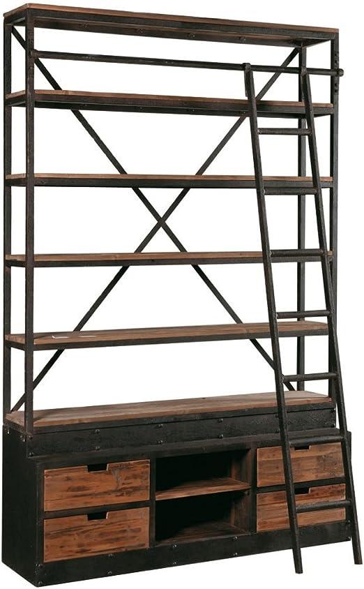 Estantería industrial con escalera. Estantería de madera reciclada, madera de olmo con estructura de hierro. Estantería