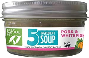 Only Natural Pet Human Grade 5 Ingredient Soup Wet Cat Food Topper for Cats, Grain Free, Boosts Flavor or Nutritional Snack (Case of 6-4 oz Jars)