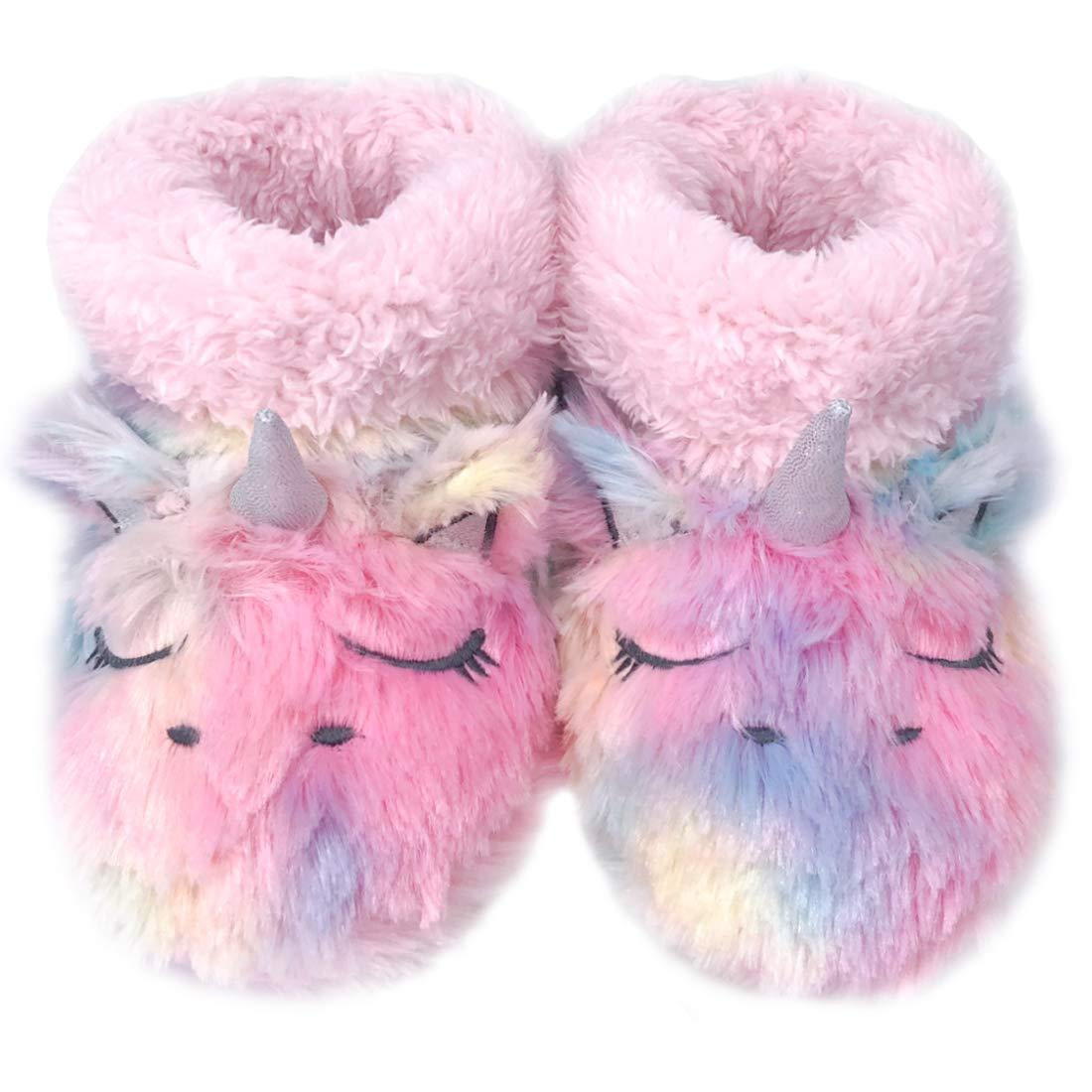Dream Bridge Zapatillas de Felpa para Ni/ñas Botas de Peluche para Chicas Unicornio Multicolor