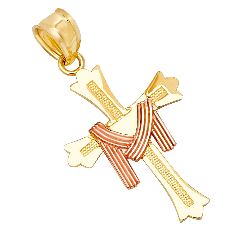 14k REAL Two Tone Gold Religious Crucifix Jesus Cross Charm Pendant