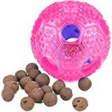Airsspu Interactive Dog Toy - IQ Treat Ball Food Dispensing Toys for Small Medium Large Dogs Durable Chew Ball - Nontoxic Rubber and Bouncy Dog Ball - Cleans Teeth (Rose)