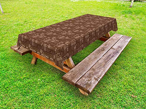 Ambesonne Folk Art Outdoor Tablecloth, Abstract African Ethnic Pattern with Different Indigenous Ornamental Motif, Decorative Washable Picnic Table Cloth, 58 X 104 Inches, Chocolate and Ecru from Ambesonne
