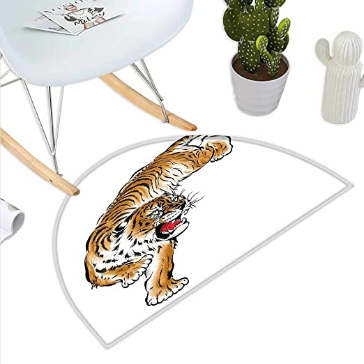 Tiger Cojín Semicircular Digital Dibujo de Gato Grande Fine ...