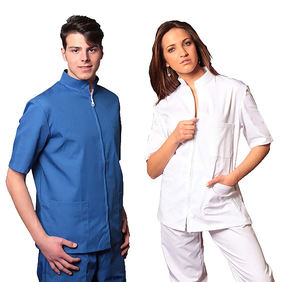 AIESI Divisa Ospedaliera unisex uomo donna in cotone 100% sanforizzato pantaloni + casacca con zip - Sanitaria Medicale per Medico Infermiere Oss Estetista Made in Italy - XXXL BLU ROYAL