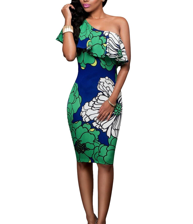 CoCo Fashion Damen Floral Off Shoulder Kleid Stretchkleid Partykleid ...