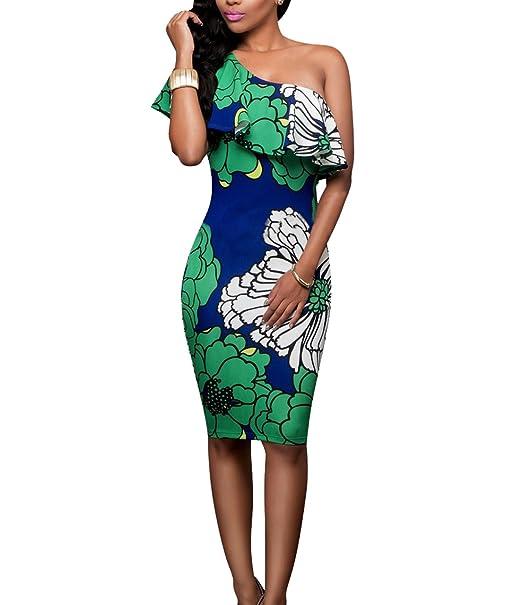 f76b11ff6d1b PRETTYGARDEN Women's One Off Shoulder Floral Printed Ruffle Chest Bodycon Midi  Dress (Small, Style