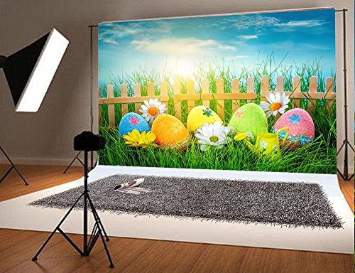 7x5ft Spring Green Photo Studio Background Blue Sky Colorful Eggs Flowers Photography Backdrop Easter No Winkles for $<!--$46.80-->