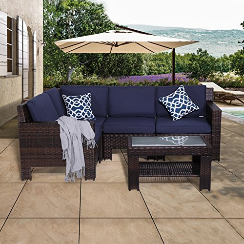 Diensday Outdoor Furniture 5Pc Sectional Sofa Set All Weather Brown Wicker Deep Seating with Navy Blue Water-Resistant Olefin Cushion & Sophisticated Glass Coffee Table | Patio, Backyard, Pool, Porch ()