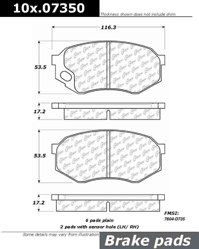 Centric Parts 100.07350 100 Series Brake Pad