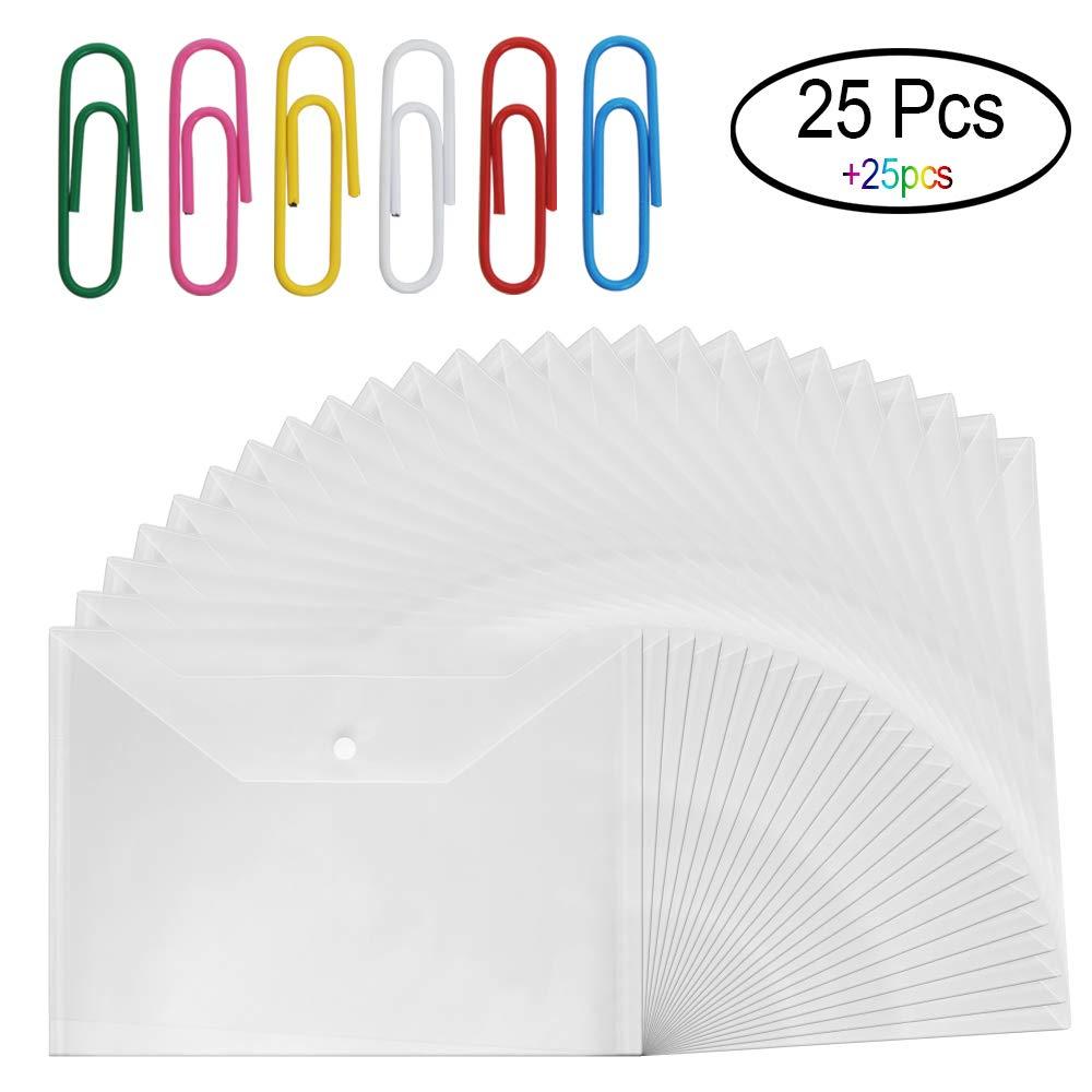 25 PCS Clear Document Folder with Snap Button Closure, Waterproof & Tear Resistant A4 Size Plastic Envelope Folder with 25 Pcs Multicolor Paper Clips