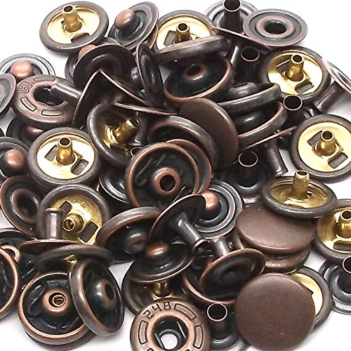 10 Pack Antique Copper 10 mm Spring Button Glove Snaps 1249-10