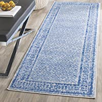Safavieh Adirondack Collection ADR110D Silver and Blue Vintage Distressed Runner (26 x 10)