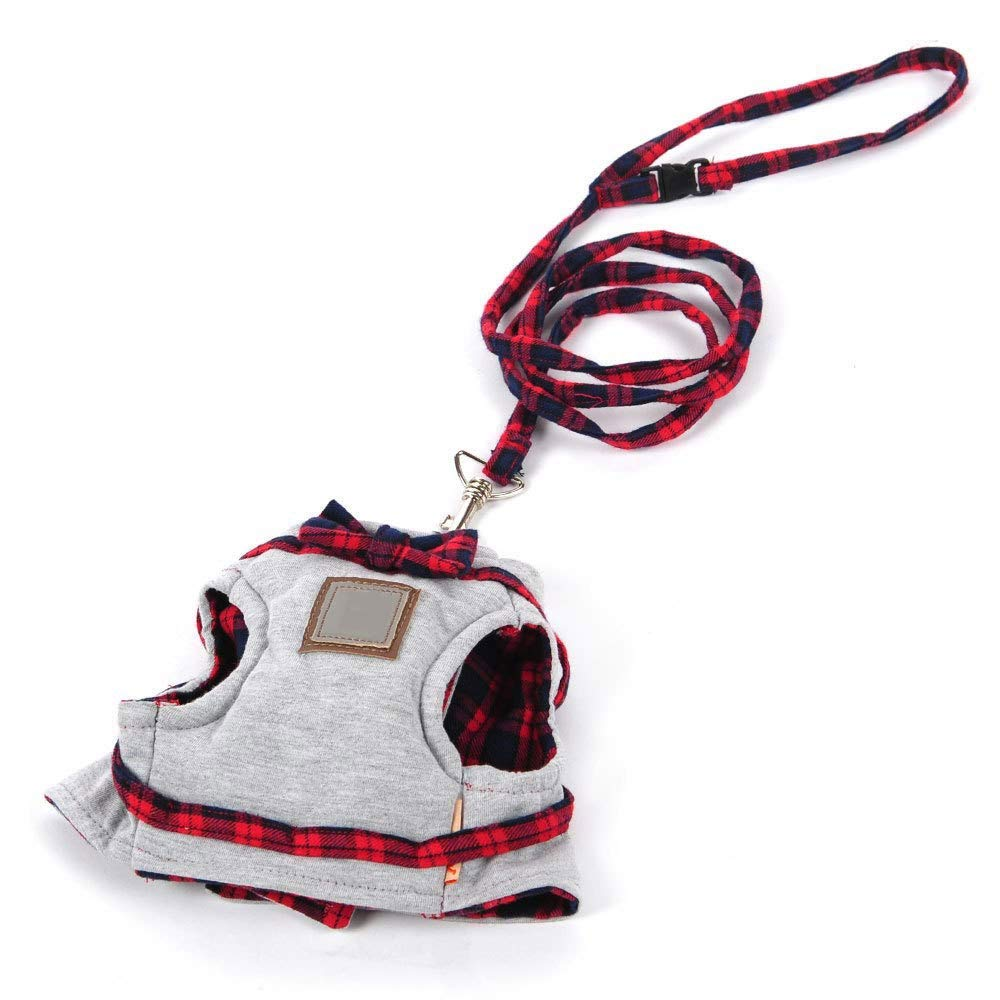 M FANQIECHAODAN Adjustable Cat Vest Harness And Leash Mesh Harness British Style Jacket with Leash And Cute Bow Collar Red,Harness Vest Leash Pet Traction Rope Chest Straps for Small Animals
