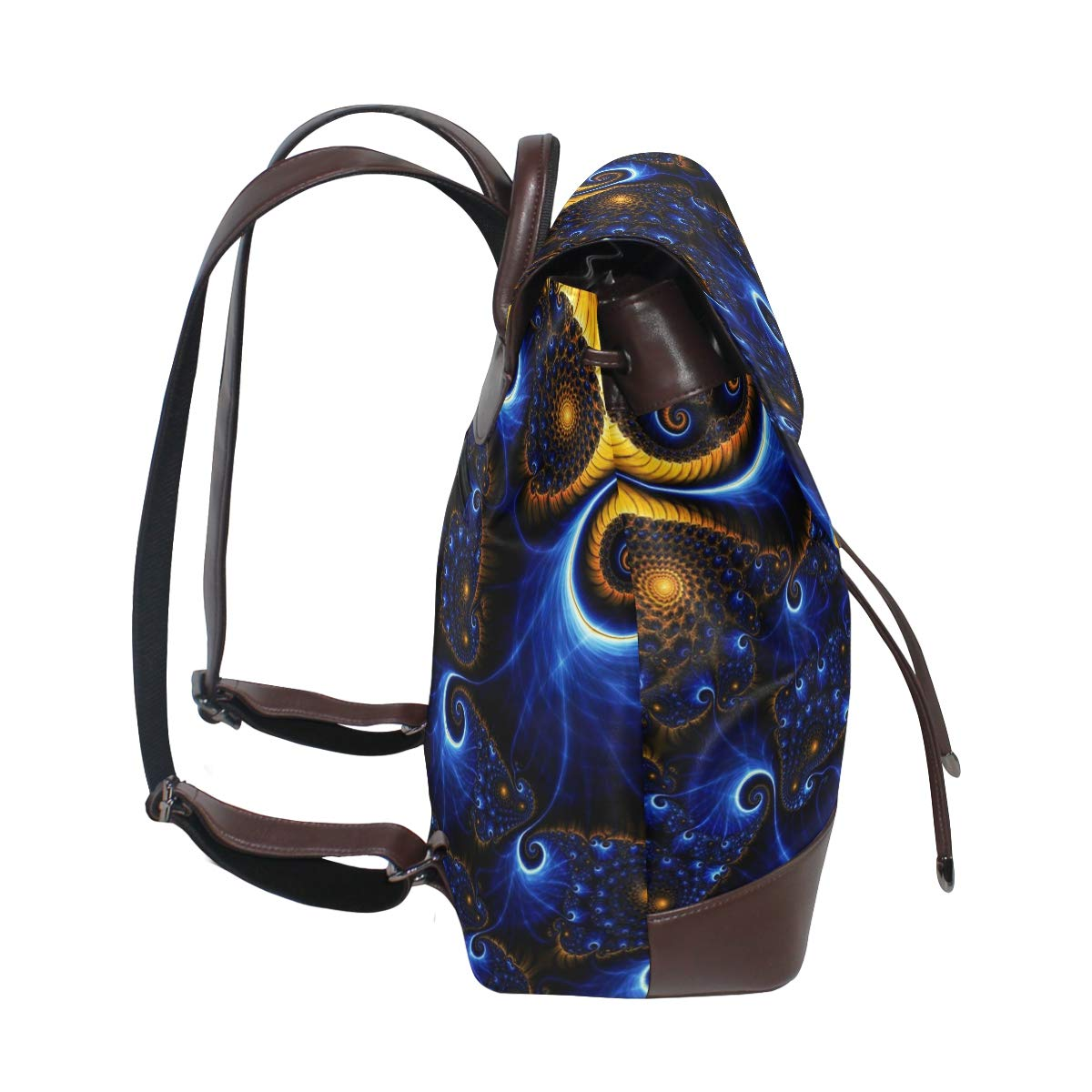 PU Leather Backpack Mysterious Floral drawstring for Travel Rucksack Daypack Casual Duffel Shoulder Bag