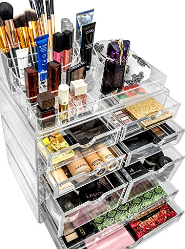 Sorbus Organiser Acrylic Cosmetics Jewelry Storage Case X-Large Display Sets-Interlocking Scoop Drawers to Create Your Own Specially Designed Makeup Counter-Stackable and Interchangeable, Clear