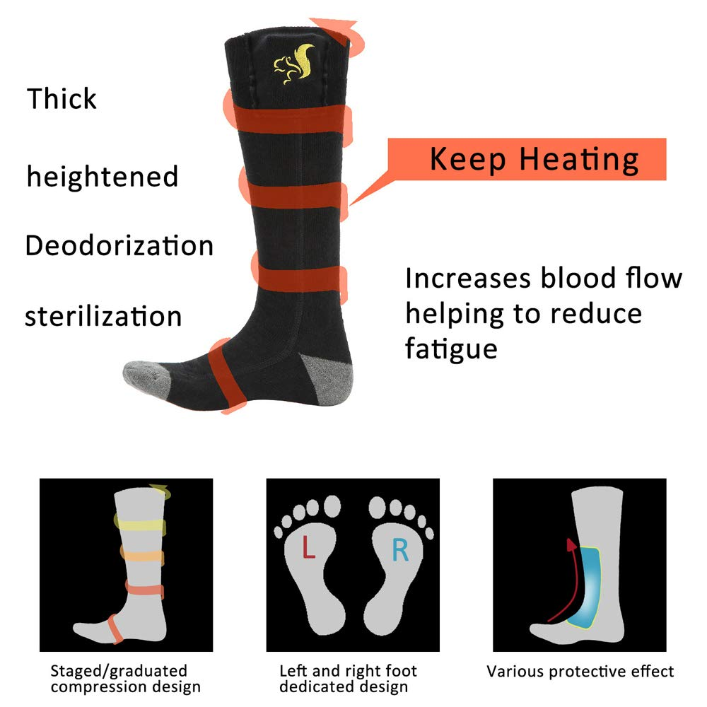 Lixada Electric Charging Battery Heated Cotton Socks Feet Thermal Winter Warmer Foot Sock for Cycling Skiing Motorcycle Accessories