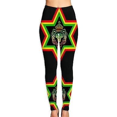 bee7e351407dff Amazon.com: Antonia Bellamy Cool Rasta Lion Rastafari Stars Women's  Full-Length Yoga Pants Fitness Workout Leggings: Clothing