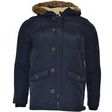 26fe415fea868 Brave Soul Childrens Boys Padded Waterproof Winter Coat School Parka Jacket-  Borg Lined Faux Fur Navy Blue Black  Amazon.co.uk  Clothing