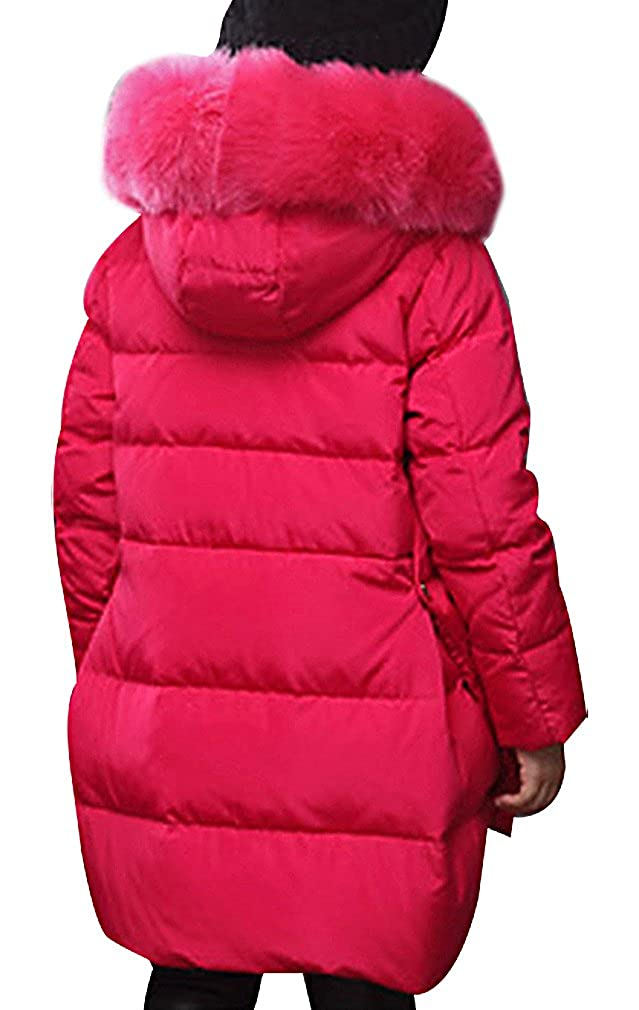 BPrincess Girls High Low Rounded Zip Up Fluffy Fur Hood Thermal Duck Down Jacket