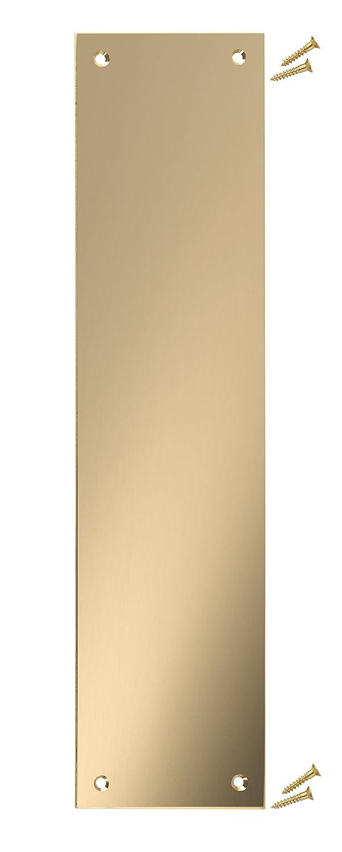 Polished Brass Door Finger Push Plate - 300 x 75mm - 1.5mm - Square Corner - Fixings Included - VAT Registered Fire Door Guru
