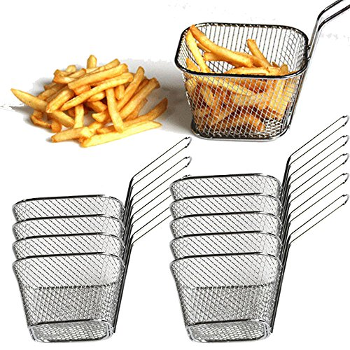 Fry Basket Wholesale Electroplate Stainless Steel Food Strainer Mini Frying Net Block (Small | Square, Pack 10) (French Baskets Wholesale)