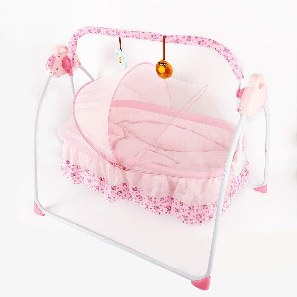 Wanlecy Electric Baby Crib Cradle Auto Swing Rocking Cot Infant Sleeping Basket with Music and Toys Newborns 0-18 Months (Pink) by WANLECY