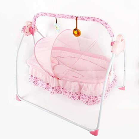 Pink Electric Auto Swing Rocker Cot Baby Infant Music Sleeping Bed Crib Cradle