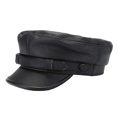 7660e1c6 Winter Hat Men Women Military Army Caps Male Genuine Leather Newsboy Baker  Boy Hat,Black