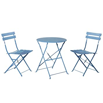 Grand Patio Outdoor Balcony Folding Steel Bistro Furniture Sets, Foldable  Table And Chairs, Blue