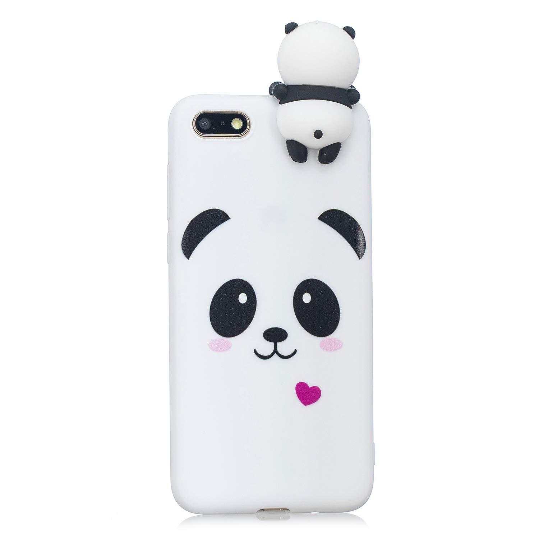 HopMore Coque Huawei Y7 2018 / Honor 7C Silicone Souple 3D Design Motif Panda Animal Drôle Mignonne Etui Honor 7C / Y7 Prime 2018 Étui Antichoc Ultra Mince Fine Gel Bumper Slim Case Housse Protection pour Fille Femme - Panda Blanc