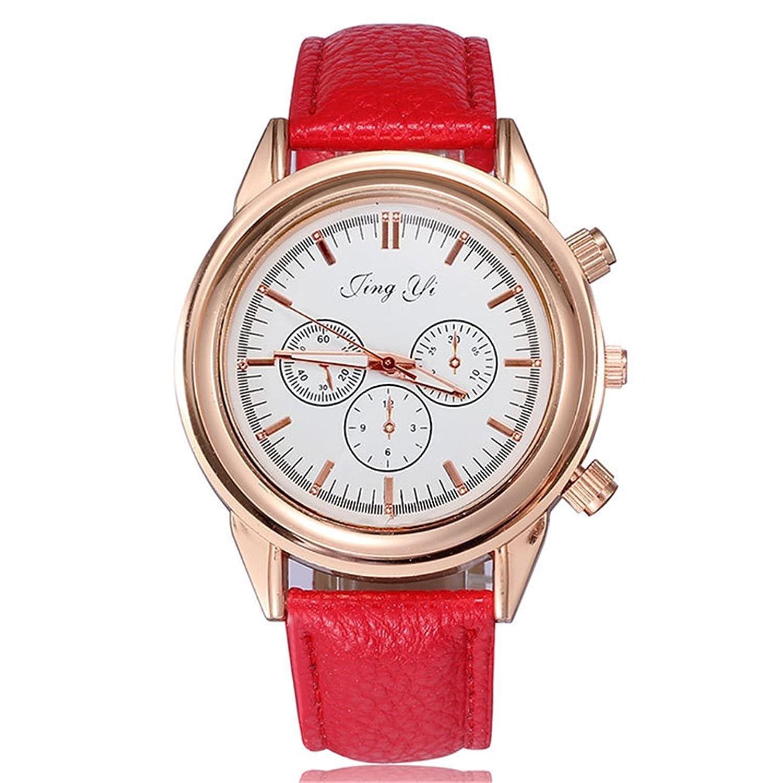 (オンラインで購入しやすいです) BUYEONLINE レディーズ3ローズゴールドメッキ合金PUレザーカジュアルダイヤル腕時計 ホワイト B016OFMWRI ホワイト