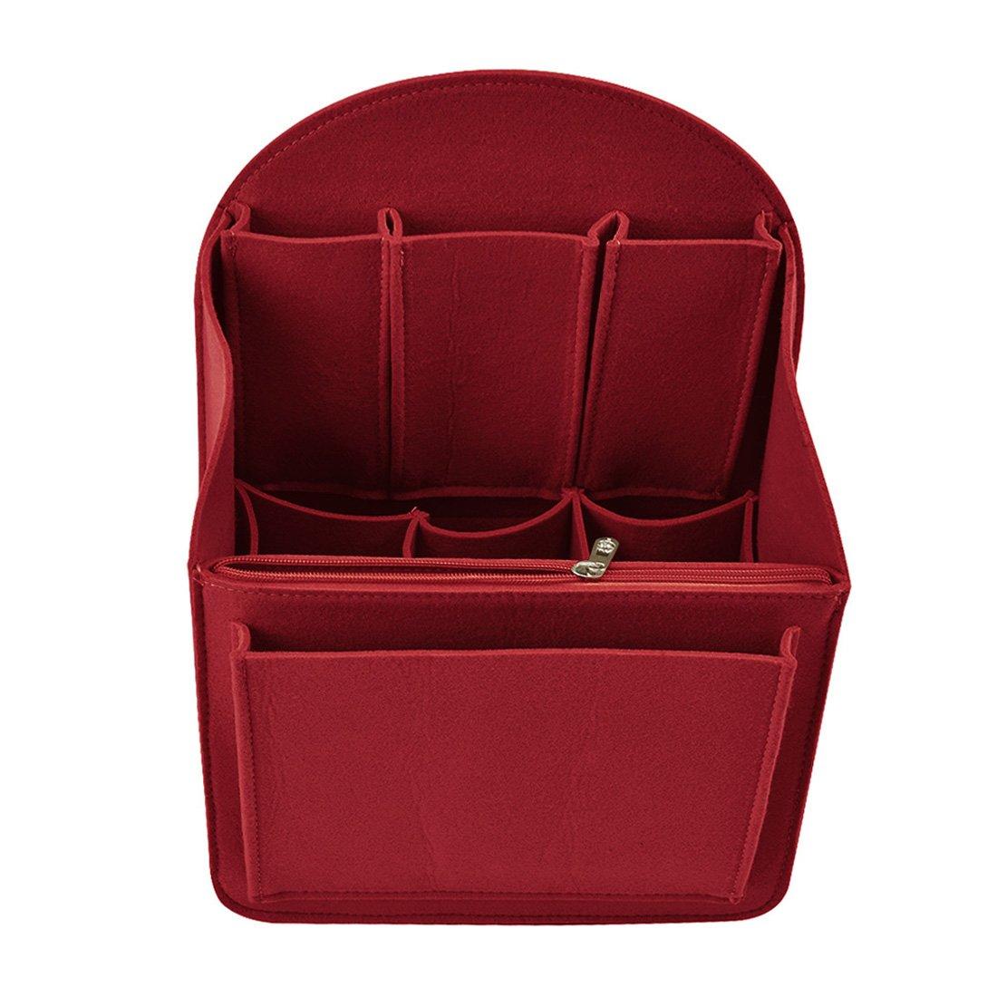 YUENA CARE Insert Bag Felt Backpack Organiser Multi Pocket Fit for Shoulder Bag Travel Handbag Tote Red M