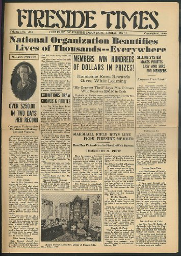 (FIRESIDE INDUSTRIES TIMES V2 1930 home crafters newsmonthly)