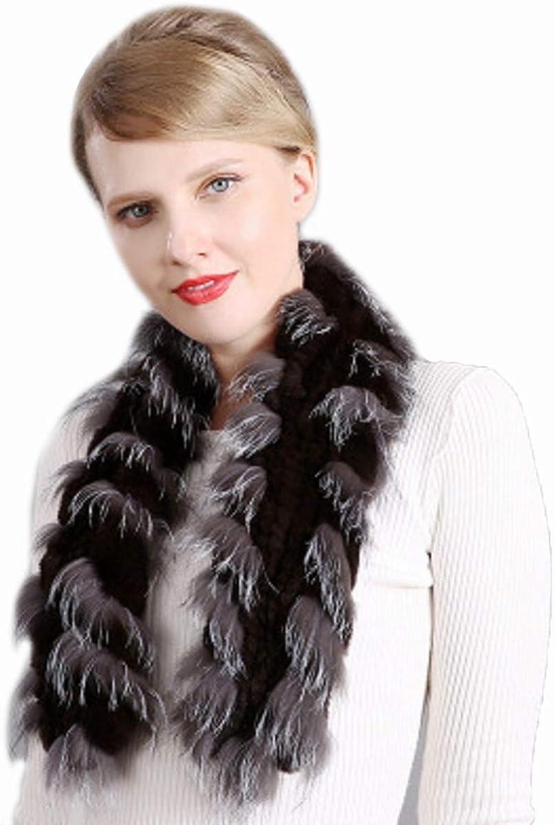 XUYUZUAU Real Rex Rabbit Fur Scarf and Fox Fur Neckerchief Women Winter Neck Warmer Soft Wedding Party