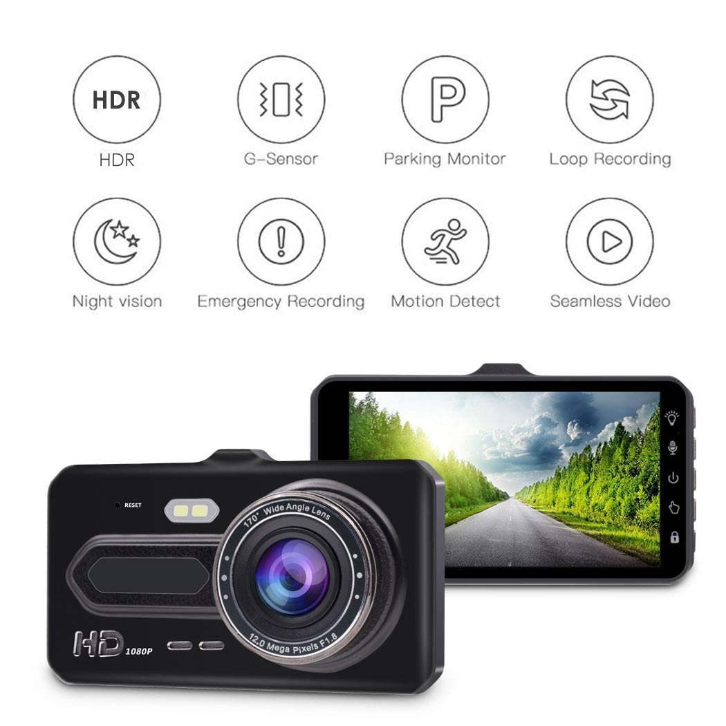 WDR Dual Dash Cam Front and Rear,GEREE 1080p HD Car DVR Dashboard Camera Recorder with Night Vision 4 inch IPS Touch Screen Motion Detection Parking Monitor G Sensor 170 Super Wide Angle