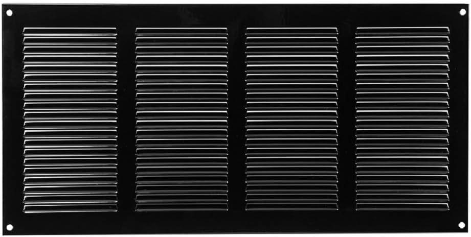 Rejilla de ventilación con protección contra insectos, 400 x 200 mm, color negro