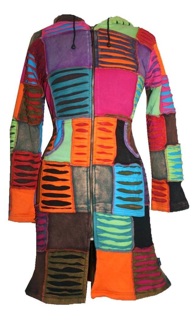 322 RJ Patch Long Cotton Bohemian Fleece Jacket (Multi 1, L) by Agan Traders
