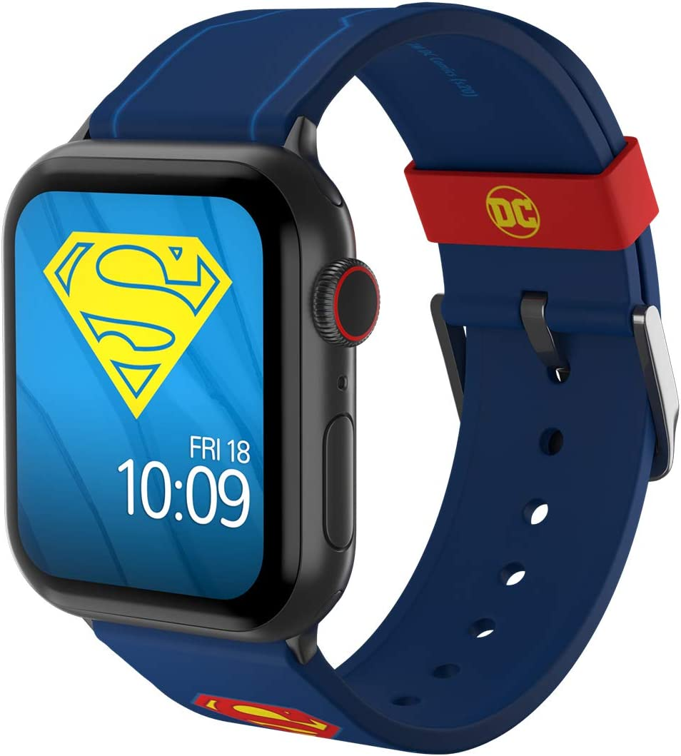 DC Comics - Superman Tactical Edition – Officially Licensed Silicone Smartwatch Band Compatible with Apple Watch, Fits 38mm, 40mm, 42mm and 44mm