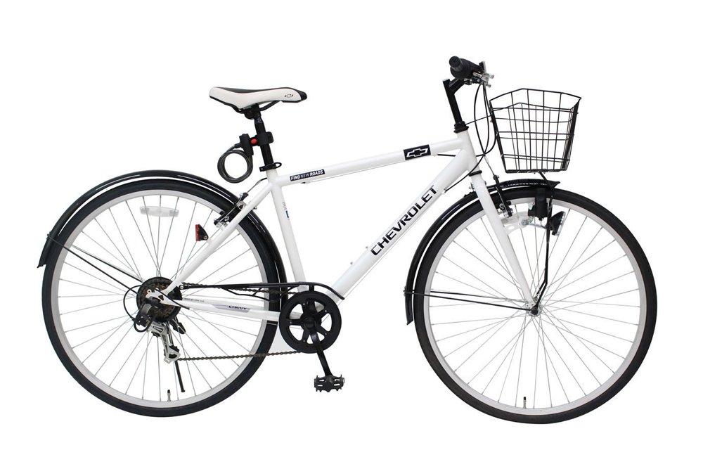 CHEVROLET (シボレー) 700C クロスバイク/自転車 ホワイト カゴライトワイヤーロック付き B07D6JRRZR