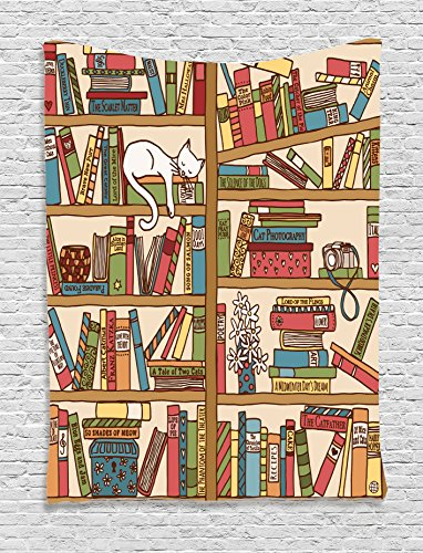Cat Lover Decor Tapestry By Ambesonne, Nerd Book Lover Kitty Sleeping Over Bookshelf in Library Academics Feline Cosy Boho Design, Bedroom Living Room Dorm Decor, 40 W x 60 L Inches, Multi