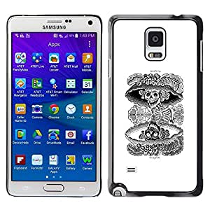 Plastic Shell Protective Case Cover || Samsung Galaxy Note 4 SM-N910 || Nuclear Skull Death Black White Rock @XPTECH