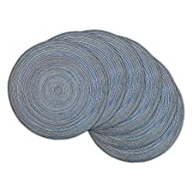 DII Round Woven, Indoor & Outdoor Braided Placemat or Charger, Set of 6, Blue