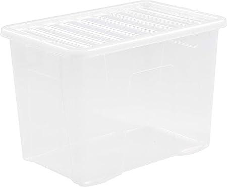 JMS® - Caja de almacenamiento de plástico, resistente y extragrande (80 litros), color transparente, 10 unidades: Amazon.es: Hogar