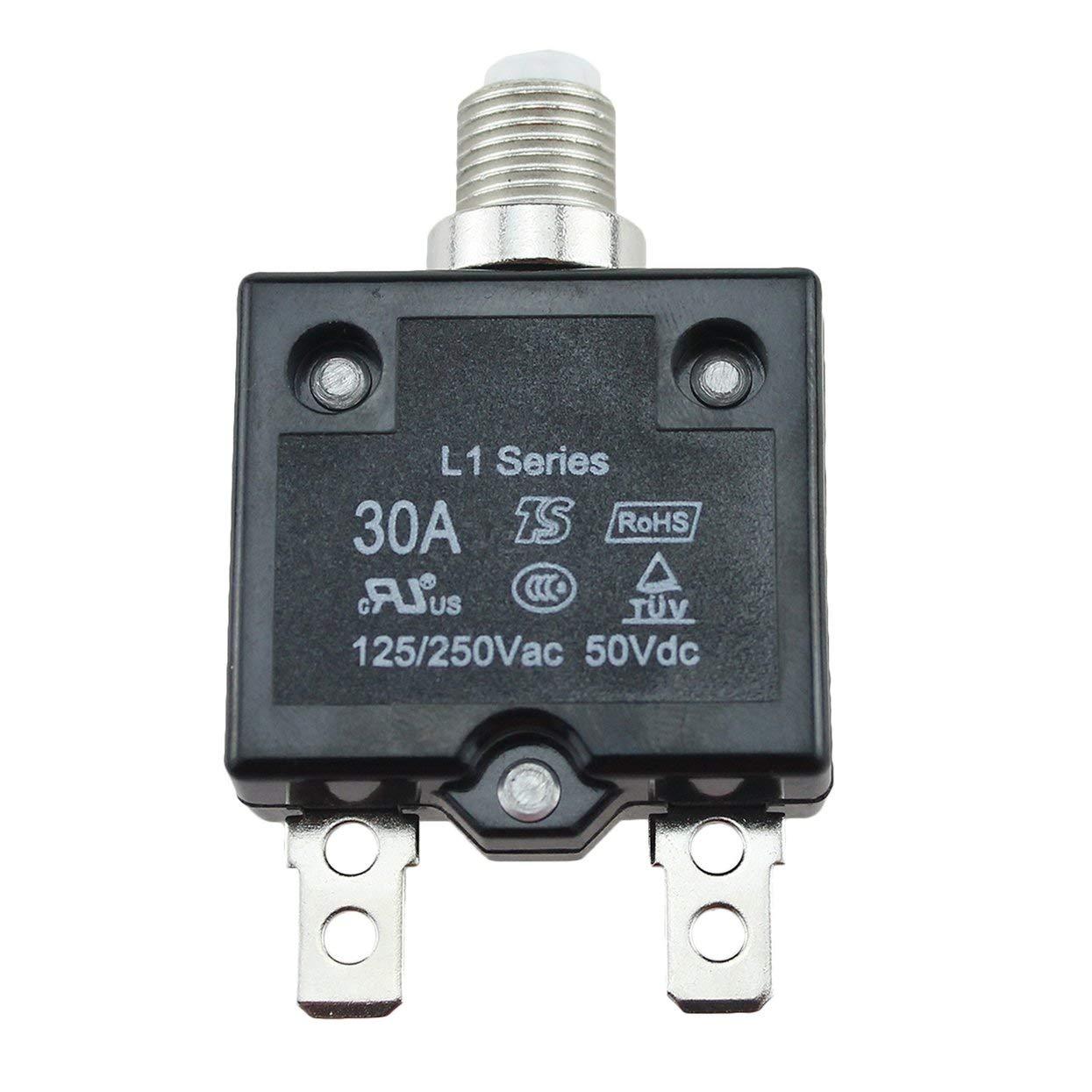 20A 15A 10A 30A Interruptor de Circuito Impermeable Bot/ón pulsable Reiniciable Fusible t/érmico Interruptor de Circuito Montaje en Panel Tree-on-Life 5A