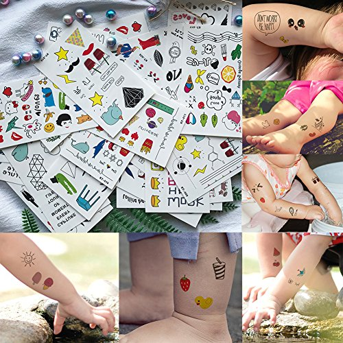 Kids temporary tattoos, cute doodle face, hand, body fake tattoos, removable, realistic and waterless, 30 sheets -