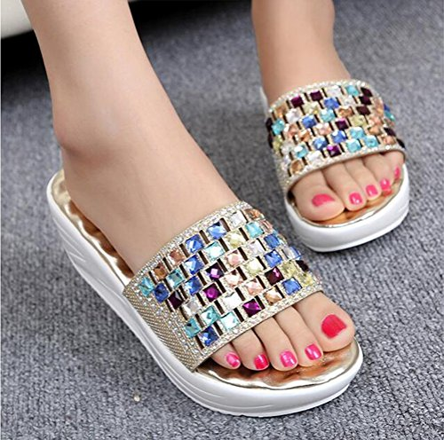 Antideslizante de Aumentar Resistente NVXIE Masaje Sandalias Zapatilla Coloreado Golden Rhinestone Desgaste al Playa Zapatos t4XY4P